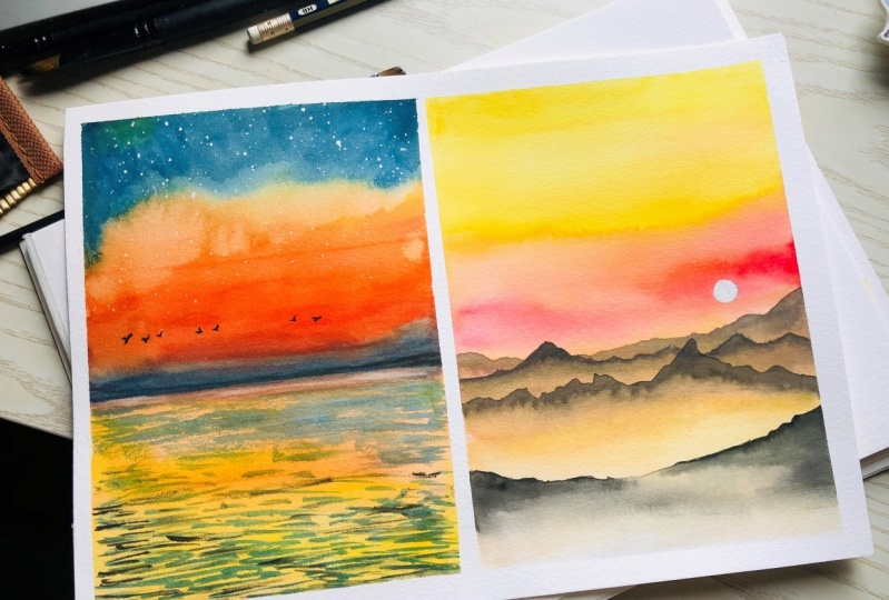 Exploring Watercolor techniques  - Mountains and water