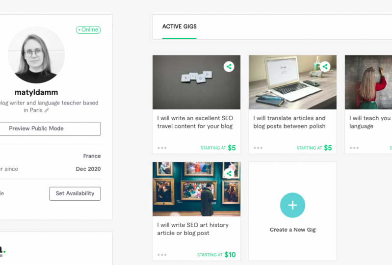 My gigs on Fiverr