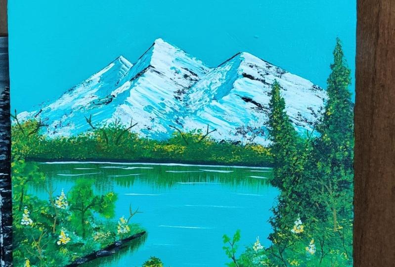 Snow peak lake painting
