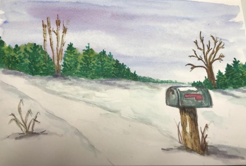 Mailbox in Winter Landscape
