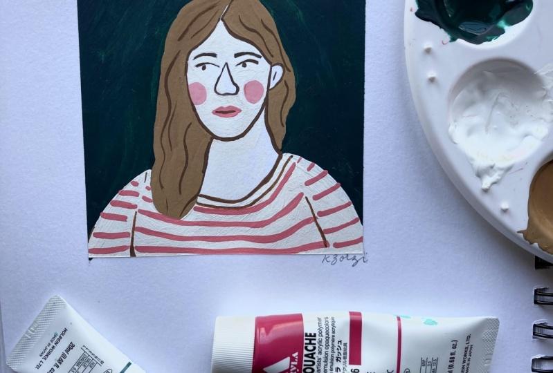 Gouache portrait doodle