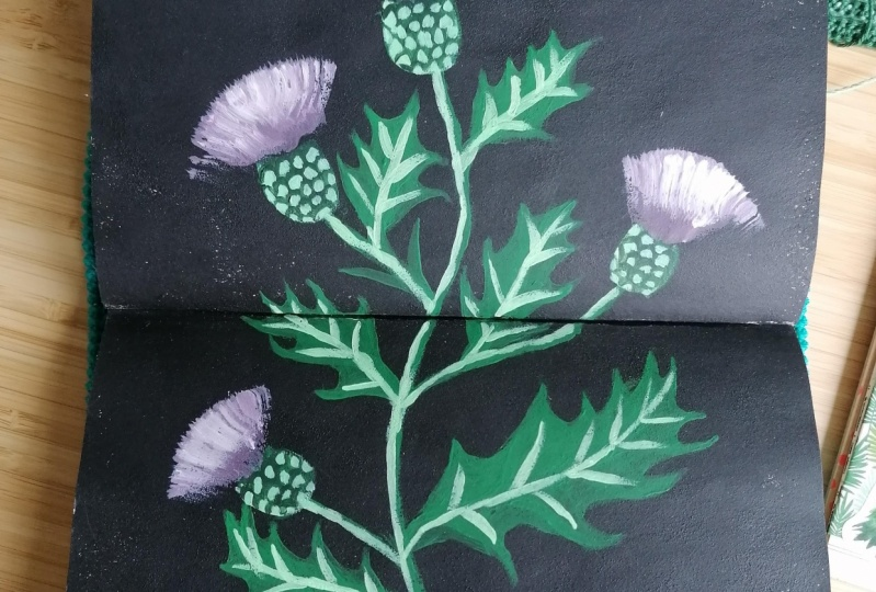 Thistles with acrylic