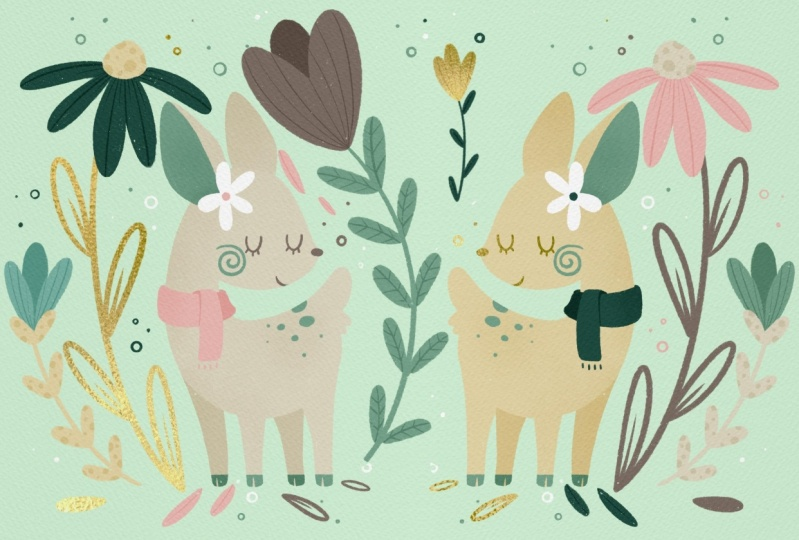 Tiny Deer & Big Flowers