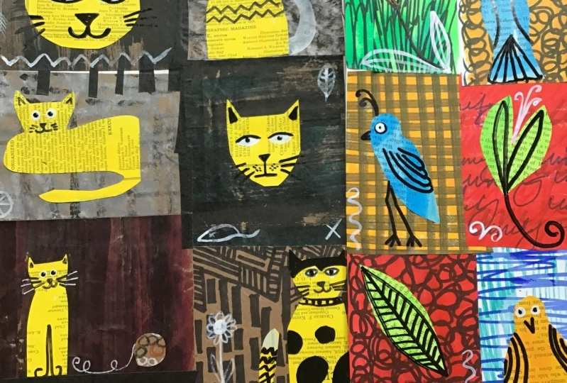 Cats and birds Collage