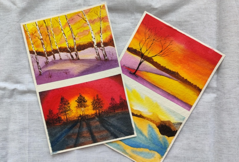 Winter sunset paintings
