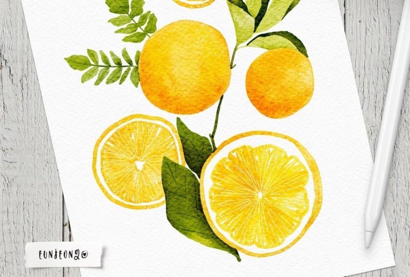 Watercolor Cheerful Citrus