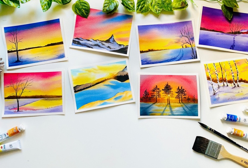 Easy Winter Sunset Paintings