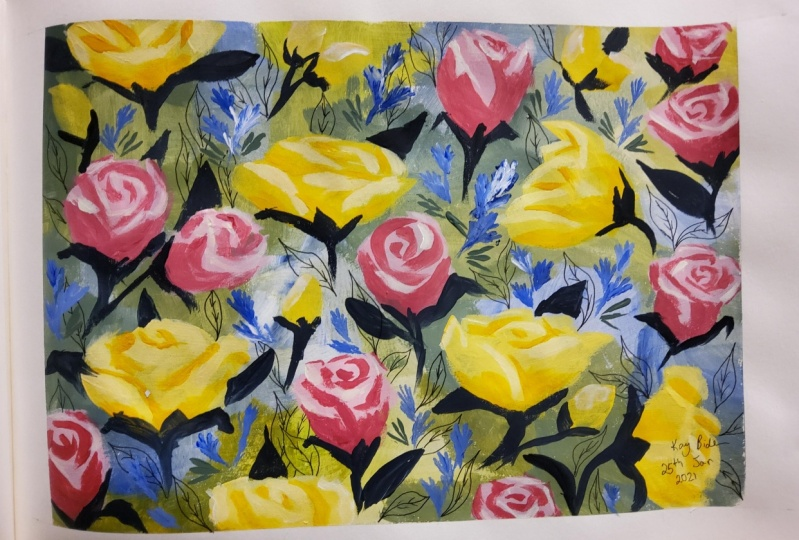 Painting loose Flowers in Acryllic