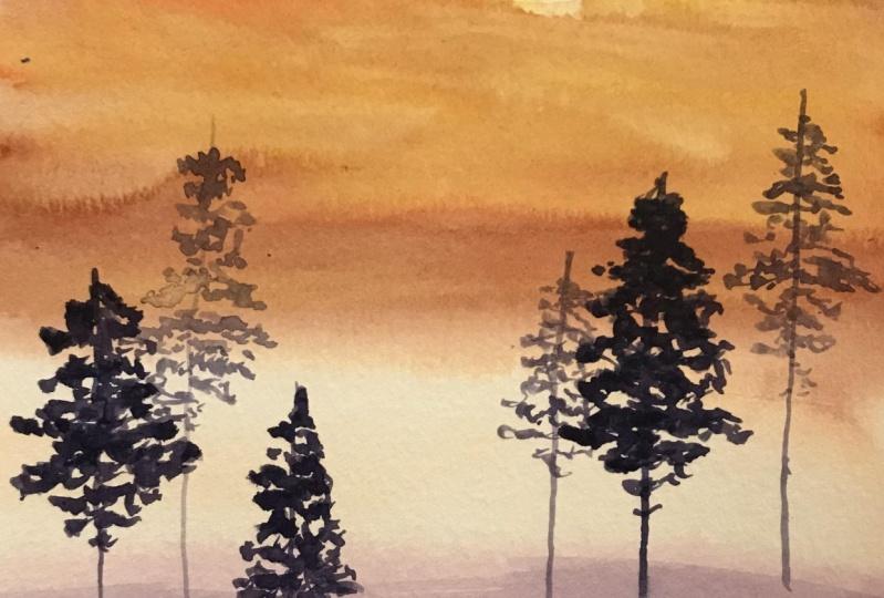 Watercolor Skies, Mountains, Lakes & Trees