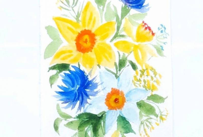 Watercolor daffodils