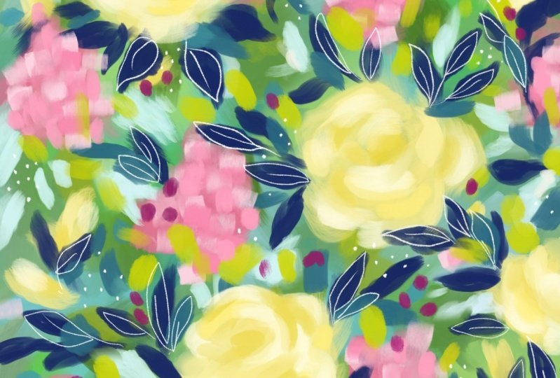 Loose abstract floral exercise
