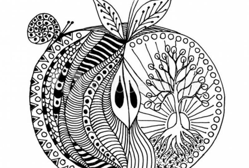 Botanical fruit mandala