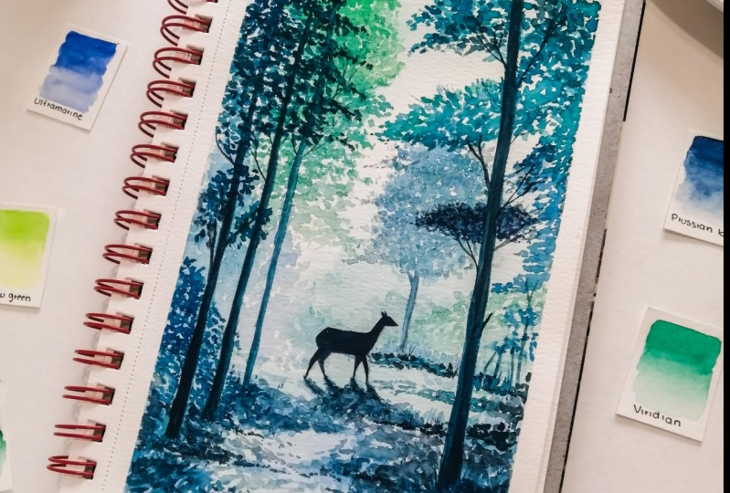 forest trees and deer