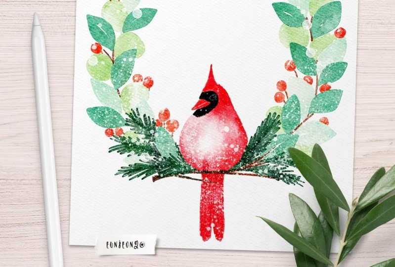Watercolor wintery wreath
