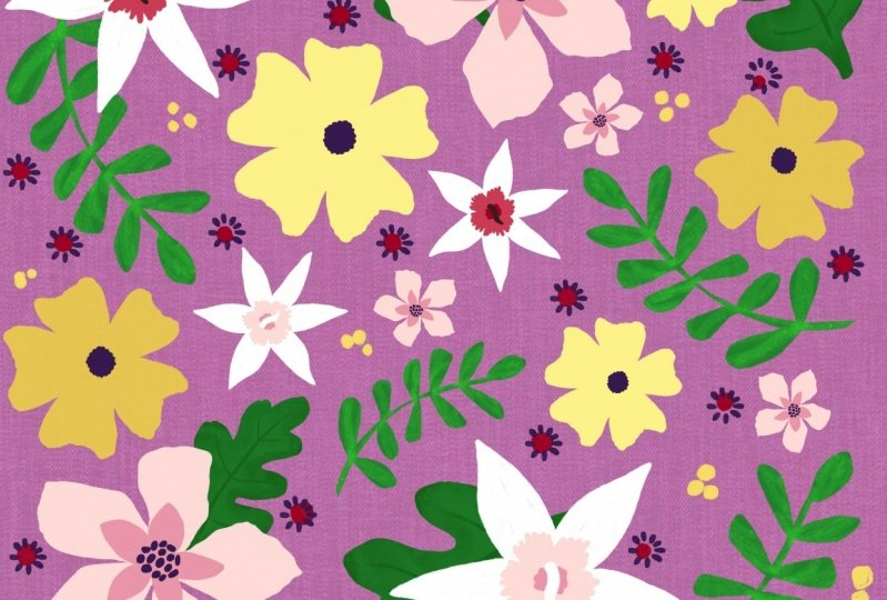 Orchid and Yellow Pattern