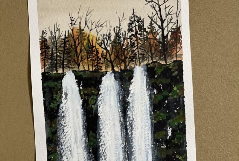 Expressive watercolor landscape