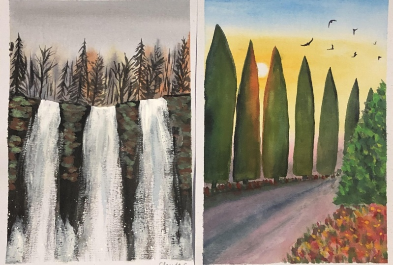 Waterfalls and Tuscan Trees