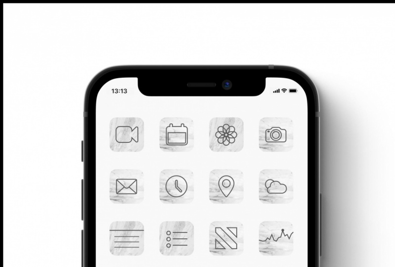 Marble-effect icons