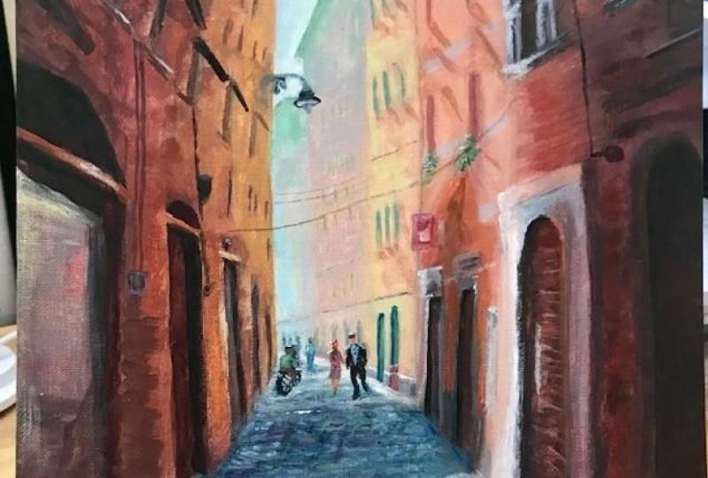 street scene in acrylics