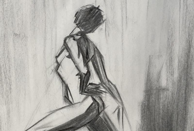 Lori's explorations in gesture drawing (heaven help us ;-)