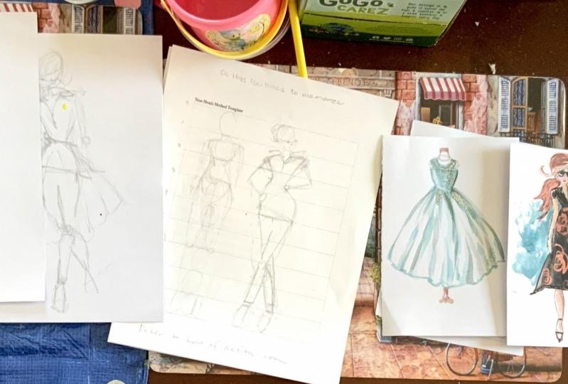 Nine heads drawings