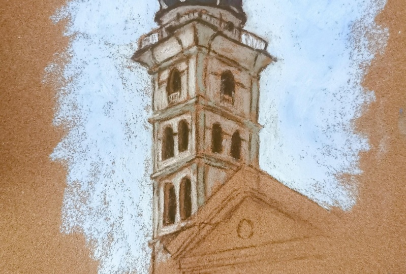 urban sketching with soft pastels