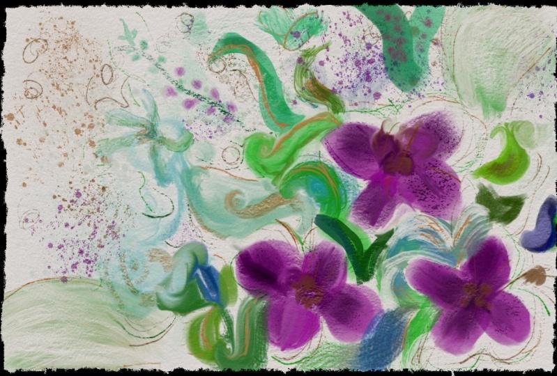 Watercolor Violets Florals
