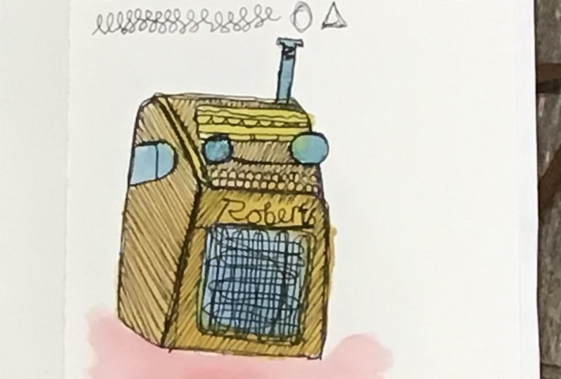Robert's radio line drawing. @inkartwork