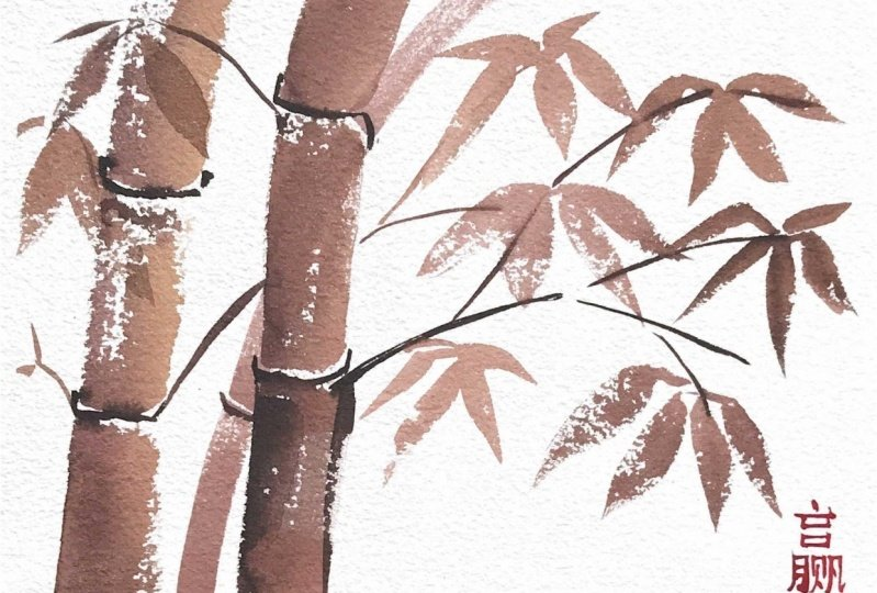 Japanese Inspired Watercolor Painting