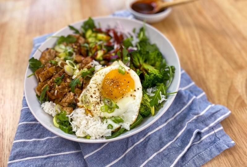Chicken Teriyaki Rice Bowl + Dragon Fruit Salad