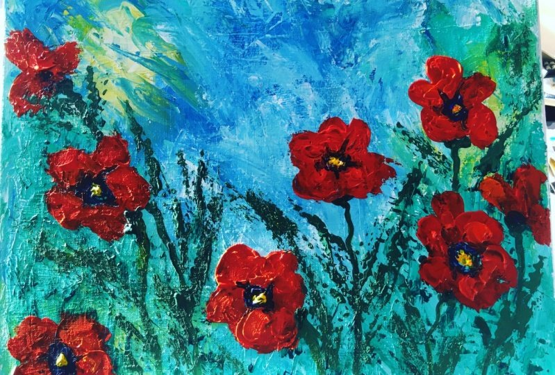 Palette Knife Poppies
