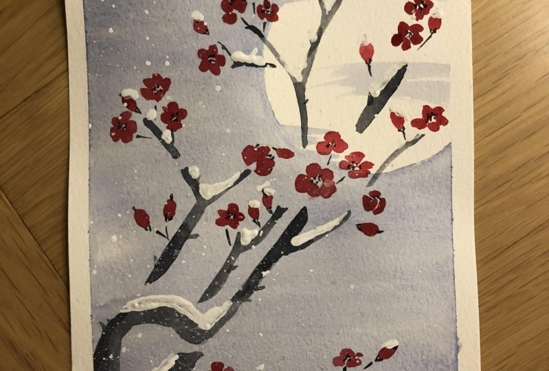Plum blossoms and snow