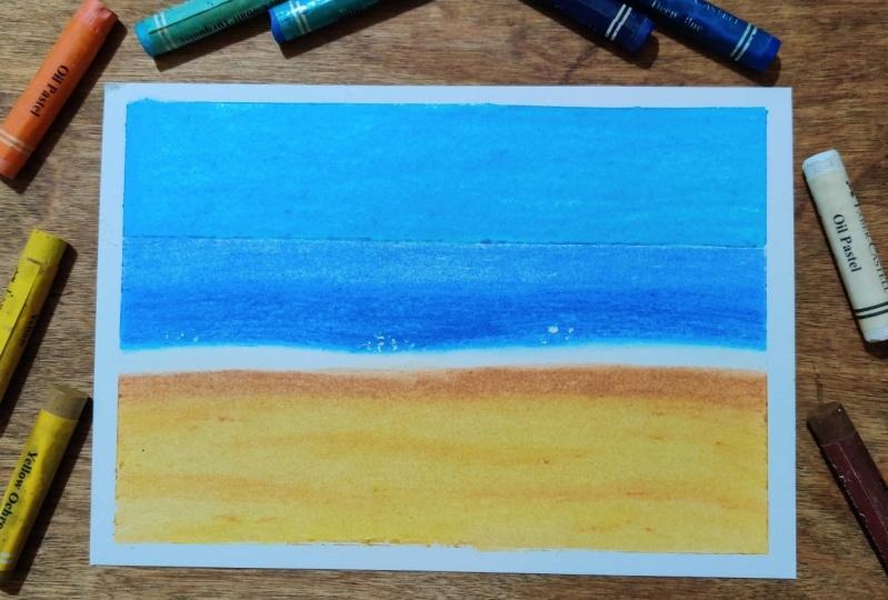 landscape using oil pastels