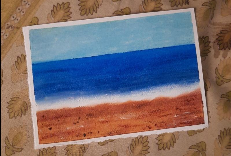 Oil Pastel Beach Landscape