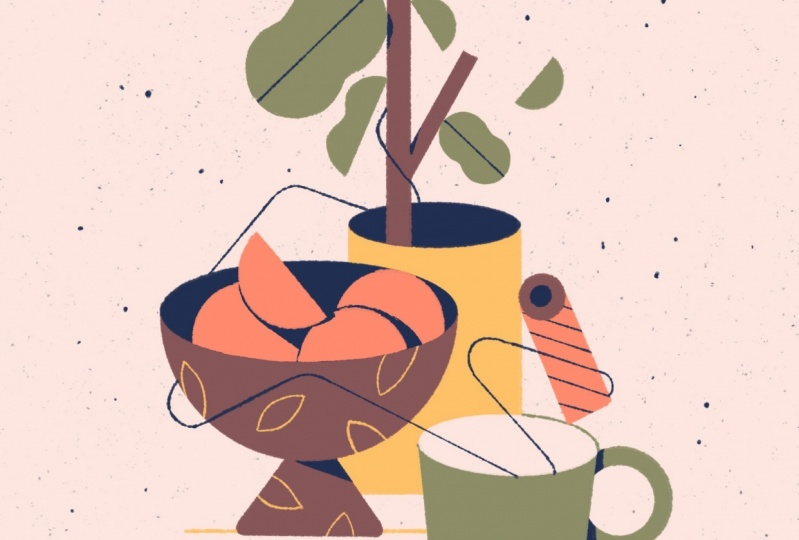 Oranges + Plants: A Graphic Still Life Illustration