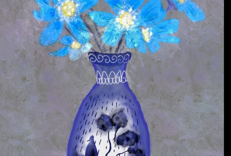 China Vase with Blue Flowers