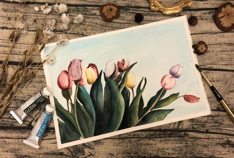 Tulip painting by Vivian
