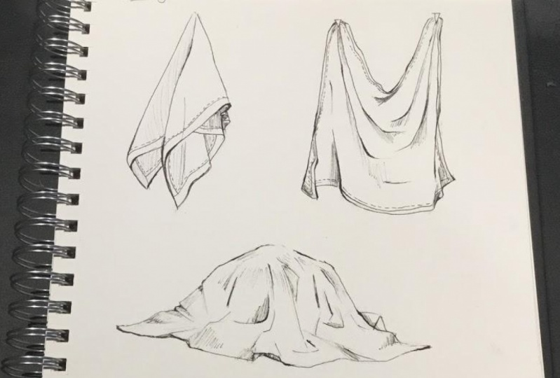my practice drawings of folds and clothes