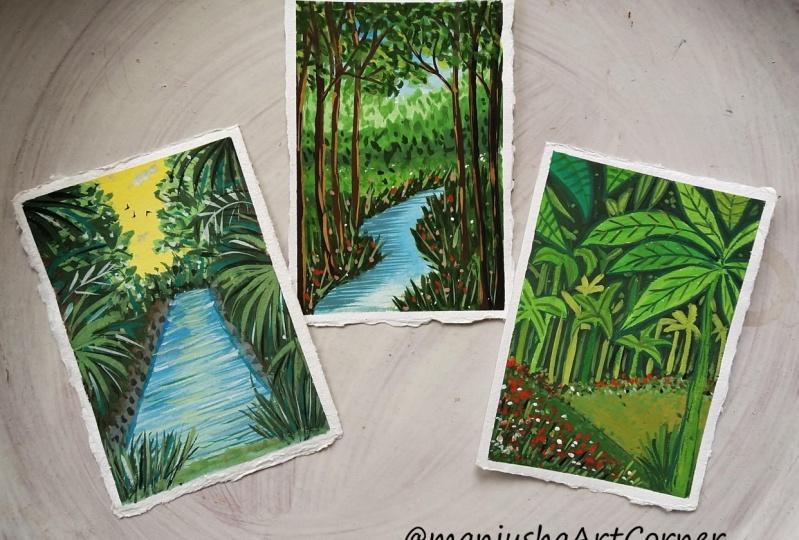 Gouache Forest Landscapes