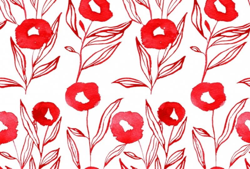 hand painted flower pattern