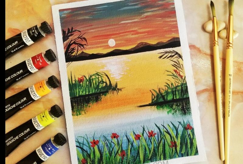 Sunset with Gouache inspired by Umashree Taparia