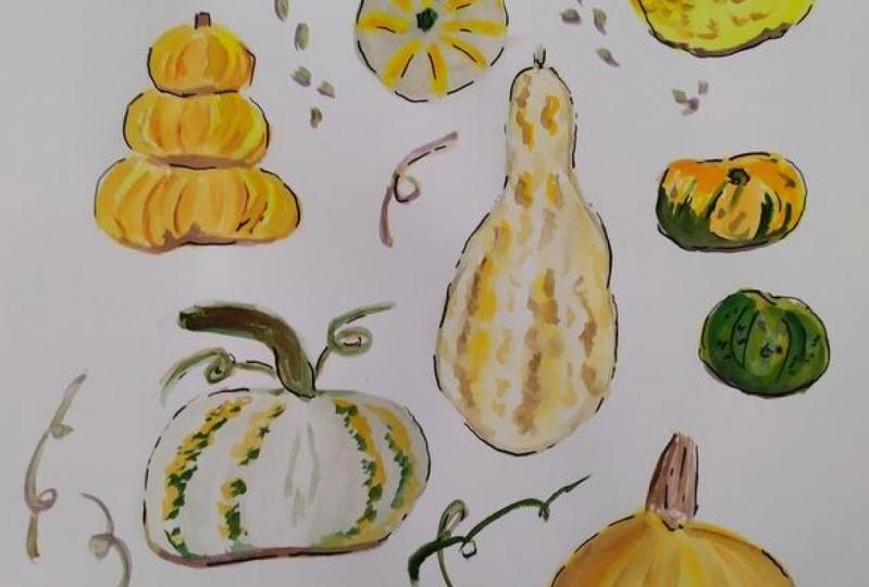 Pumpkins, water colour
