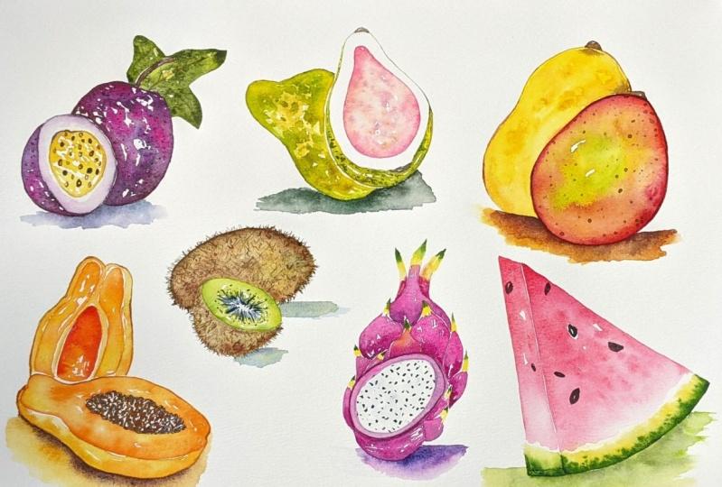 Watercolor Tropical Fruits