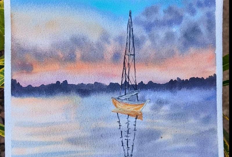 Watercolor Boat at Sea