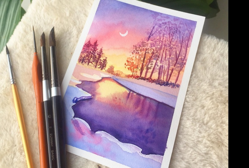 Landscape Painting of a Beautiful Winter Night