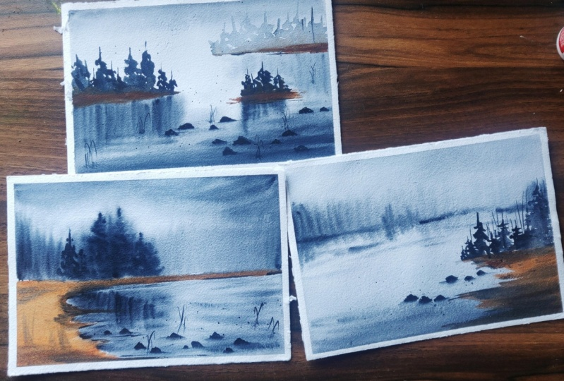 Soft and flowy watercolor landscapes