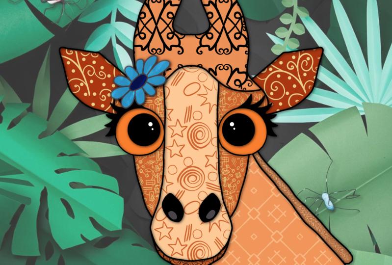 Wayward giraffe and rabbit