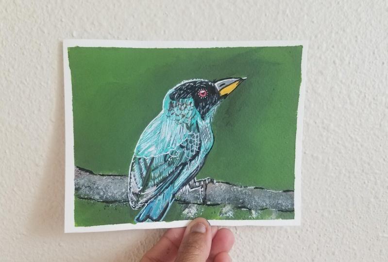 Realistic bird painting acrylic medium