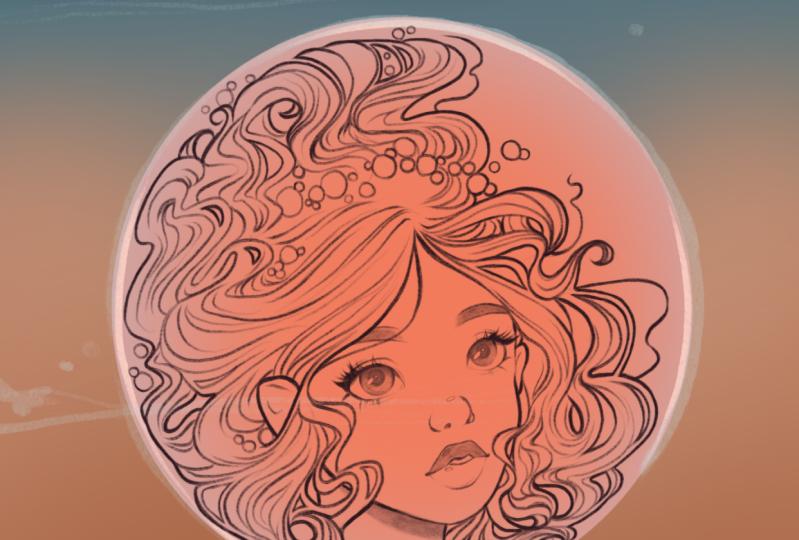 Bubble Mermaid: part 1 - line art