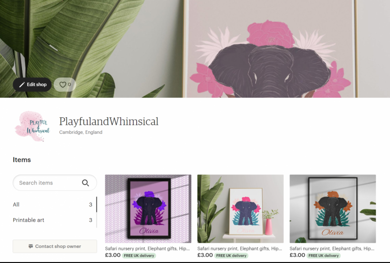 Playful and Whimsical Etsy shop